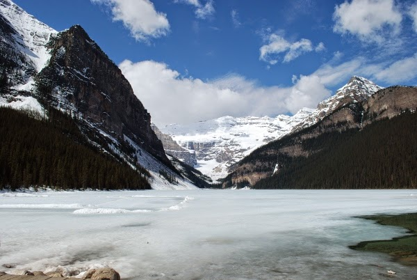 Frozen Lake Louise, Canada, in May