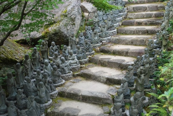 Buddha Statues on the way to Mount Misen, Japan
