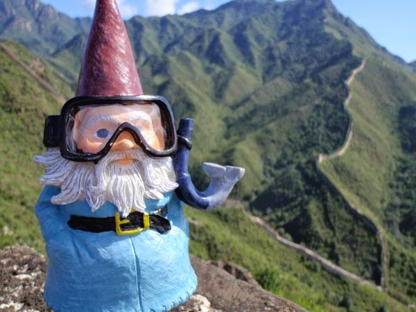 Oscar the Roaming Gnome at The Great Wall of China at Huanghuacheng