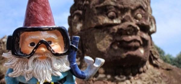 Oscar the Roaming Gnome at Angkor Complex, Cambodia