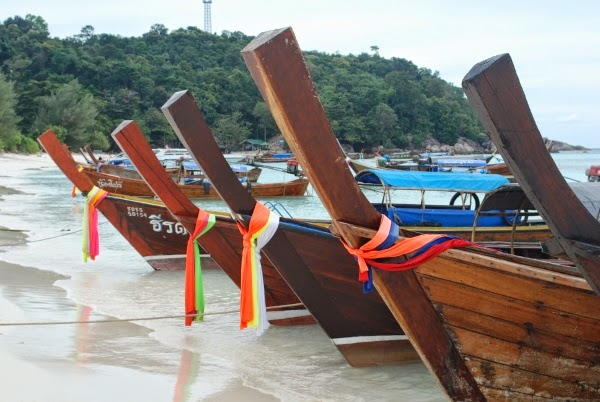 Long-Tails lined up on Koh Lipe, Thailand