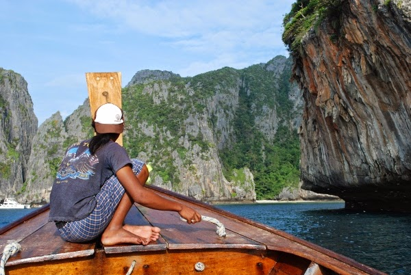 Taking a boat to Maya Bay on Koh Phi Phi, Thailand