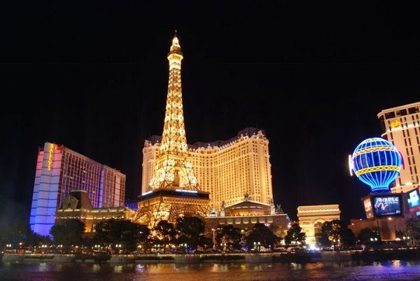 Vegas Strip and Paris Hotel at Night