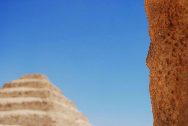 Statue Looking at the Step Pyramid of Saqqara