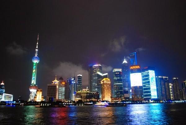 The Shanghai skyline of China