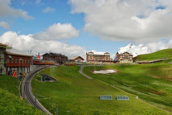 The cross-over station of Kleine Scheidegg in Switzerland