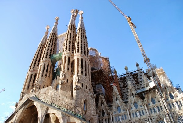 La Sagrada Familia under construction in Barcelona, Spain