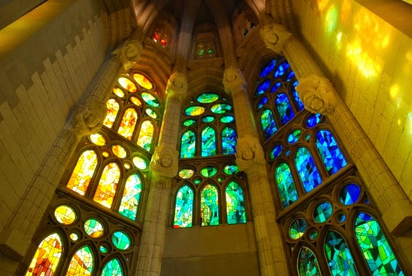 La Sagrada Familia Stained Glass in Barcelona, Spain