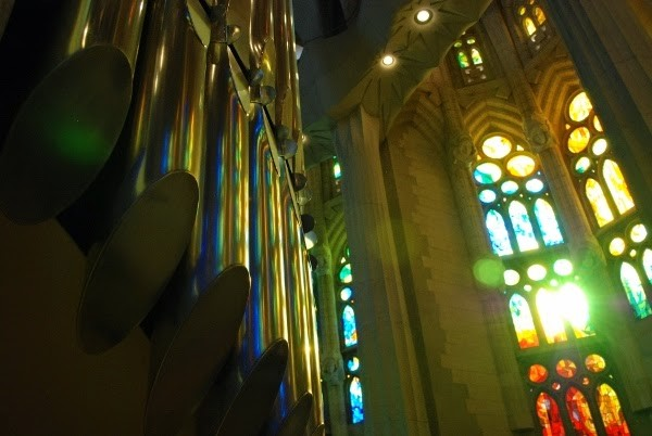 La Sagrada Familia Organ and Stained Glass Lighting in Barcelona, Spain