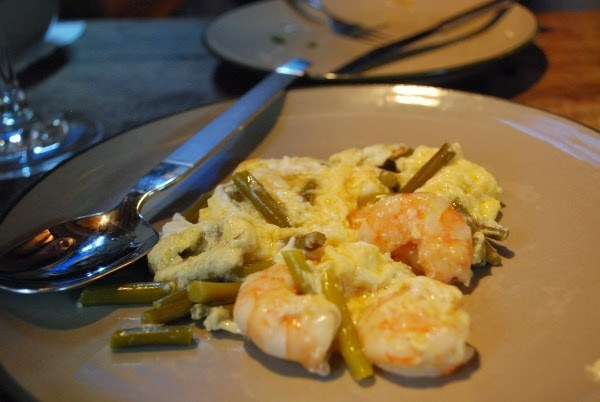 Egg, shrimp, and scapes at La Oliva
