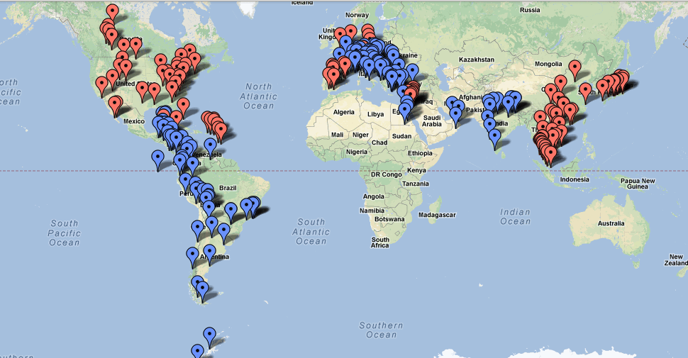 Blue = Where We're Going, Red = Where We've Been