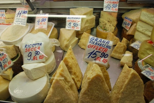 Italian cheeses at the market in Florence, Italy