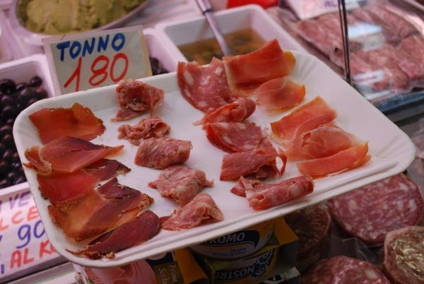 Cut meats at the market in Florence, Italy