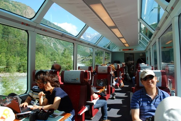 Inside the Panorama Car in Switzerland