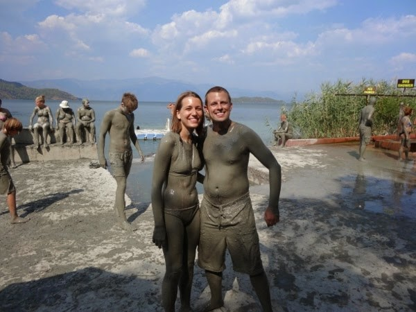 Covered in Mud at the Mud Baths in Dalyan, Turkey