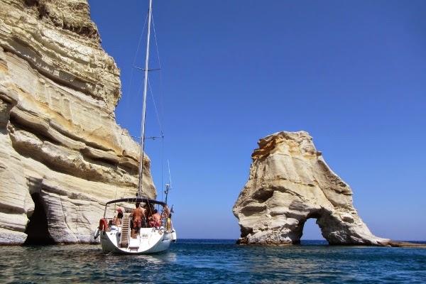 Boat on Kleftiko Bay, Greece