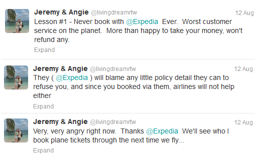 Our Actual Tweets About the Expedia Flight Cancellation Policy