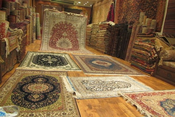 A selection of Turkish rugs at a store in Istanbul, Turkey