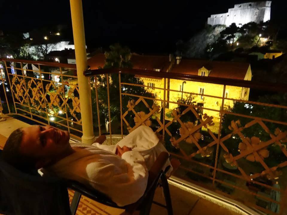View from our balcony at the Hilton Imperial Dubrovnik.. with bath robe.