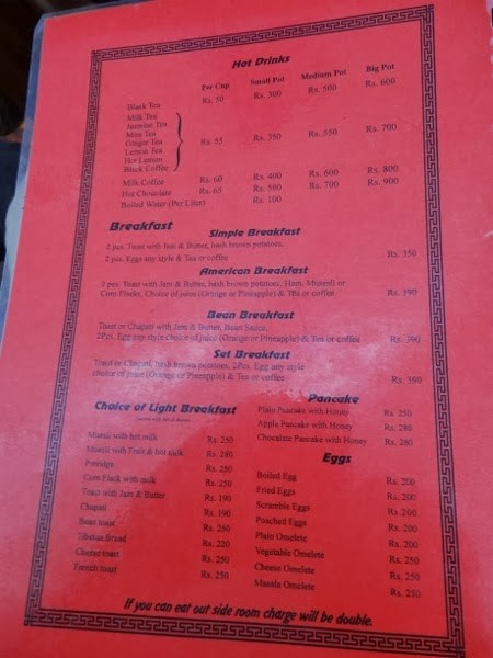 Lodge Menu on Everest Base Camp Trek