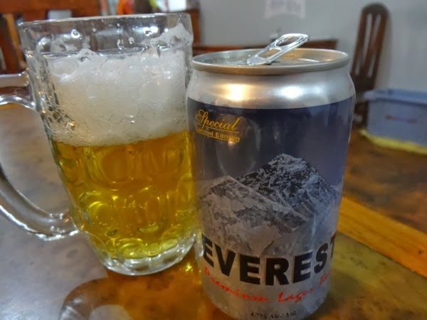Everest Beer on Everest Base Camp Trek (Going Down)