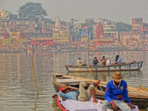 Relaxing on the Ganges in Varanasi
