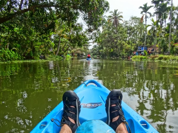 Kayaking on the backwaters of Kerala