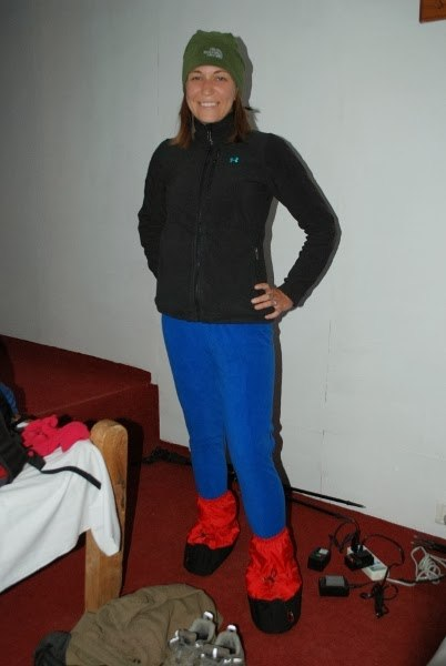 Angie styling the down booties