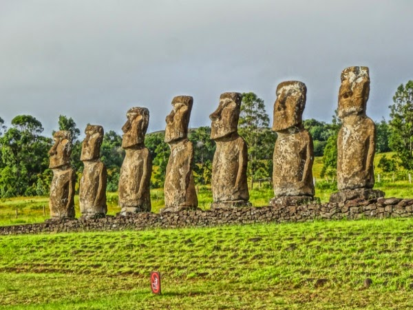 Ahu Akivi on Easter Island in HDR Style