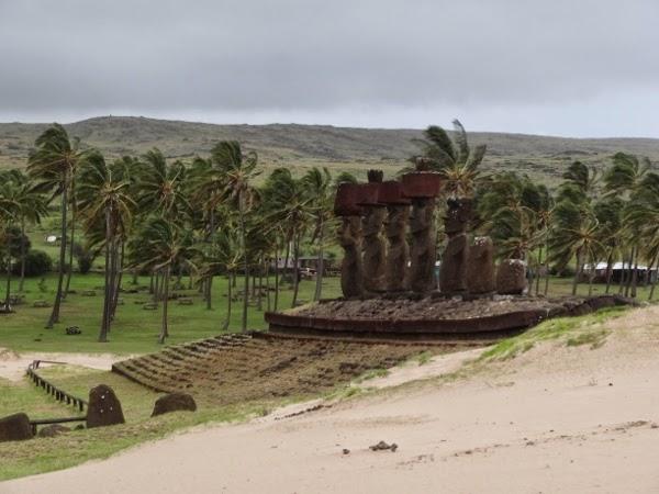 Ahu Nau Nau on the Beach in Easter Island