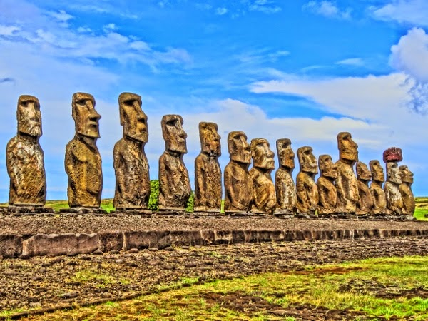 Ahu Tongariki on Easter Island in HDR Style