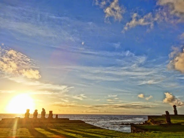Ahu Tahai on Easter Island in HDR Style at Sunset
