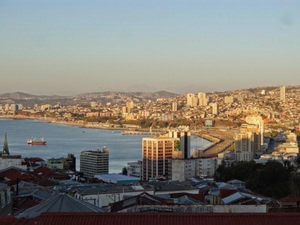 Skyline of central Valparaiso from Planeta Lindo Hostel