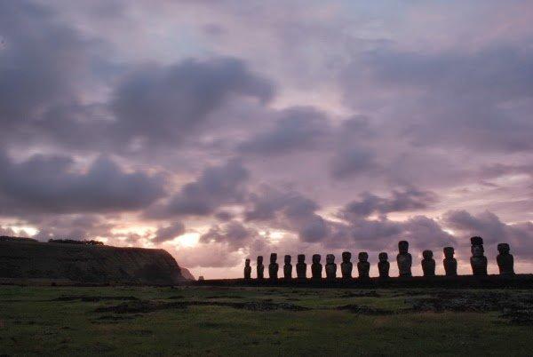 Ahu Tongariki on Easter Island at Sunrise