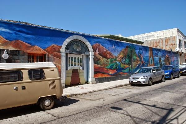Long mural in Valparaiso