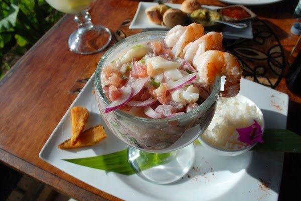 Ceviche at a nice restaurant on Isla de Pascua, ~$30.
