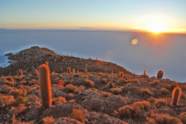 Sunrise on the Uyuni Salt Flats in Bolivia
