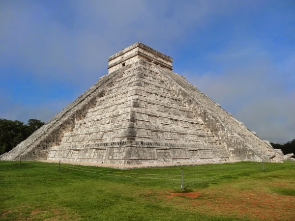 Pyramid at Chichen Itza on a gorgeous day (but very, very hot)