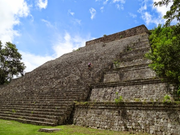 Climbing a pyramid in Mexico - Uxmal ruins outside of Merida