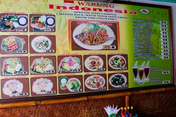 Menu at Warung Indonesia in Bali