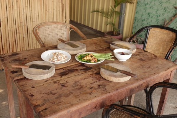 The table for the cooking class in Cambodia