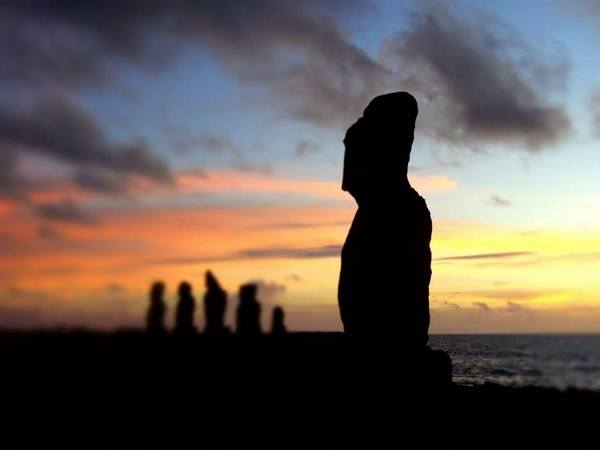 Moai of Easter Island at Dusk
