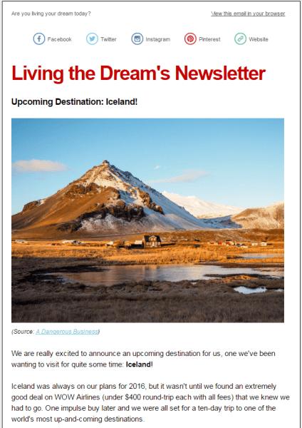 Living the Dream's Newsletter