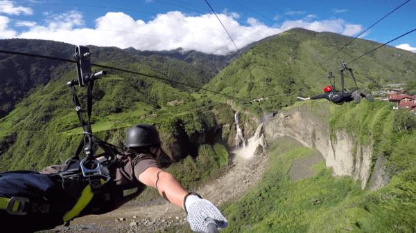 Zip lining in Ecuador