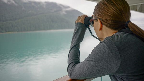 Looking for Bears from our Cruise Balcony in Alaska