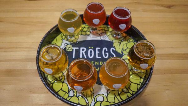 A flight of Troegs beer in Harrisburg