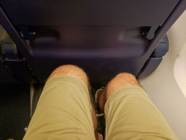 "Legroom on Ryanair flight. Fine for my 5'9"" frame and 90 minutes."