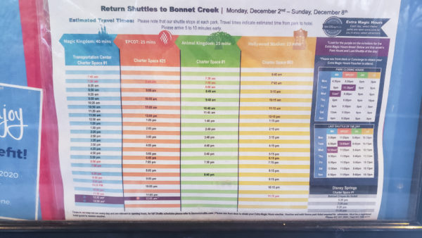 Return Shuttle Schedule for Hilton Bonnet Creek