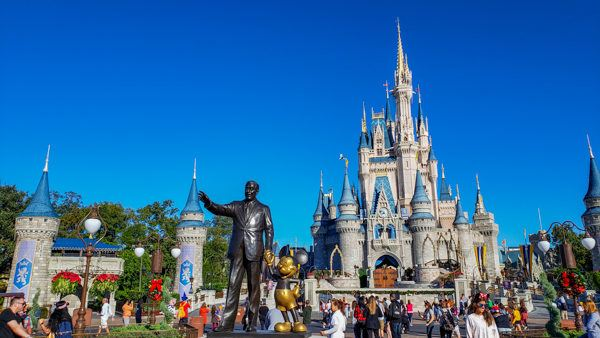 Disney and Mickey Statue at Magic Kingdom