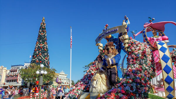 Parade In Front of Christmas Tree at Disney